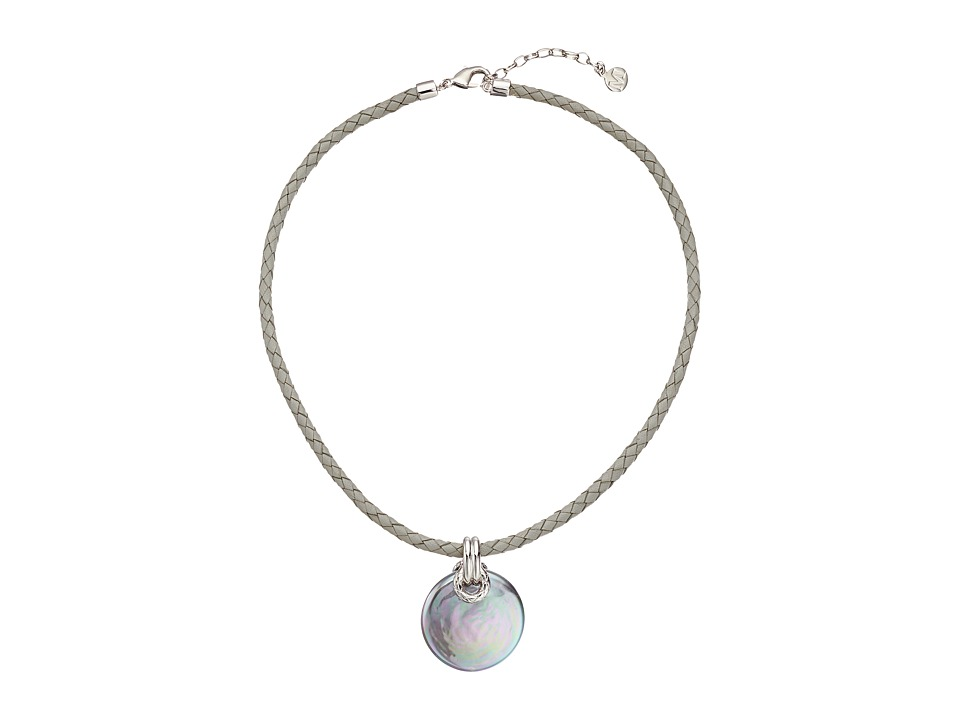 Majorica - Storm Coin Pearl Braided Leather Necklace (Silver/Grey) Necklace