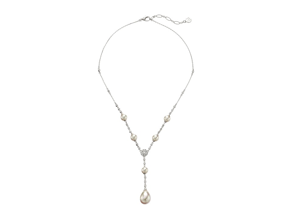 Majorica - Tying the Knot Y Necklace (Silver/White) Necklace