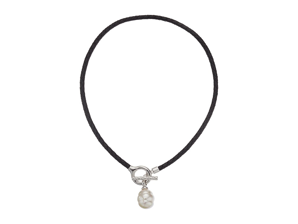 Majorica - Storm Braided Leather Pendant (Silver/Black/White) Necklace