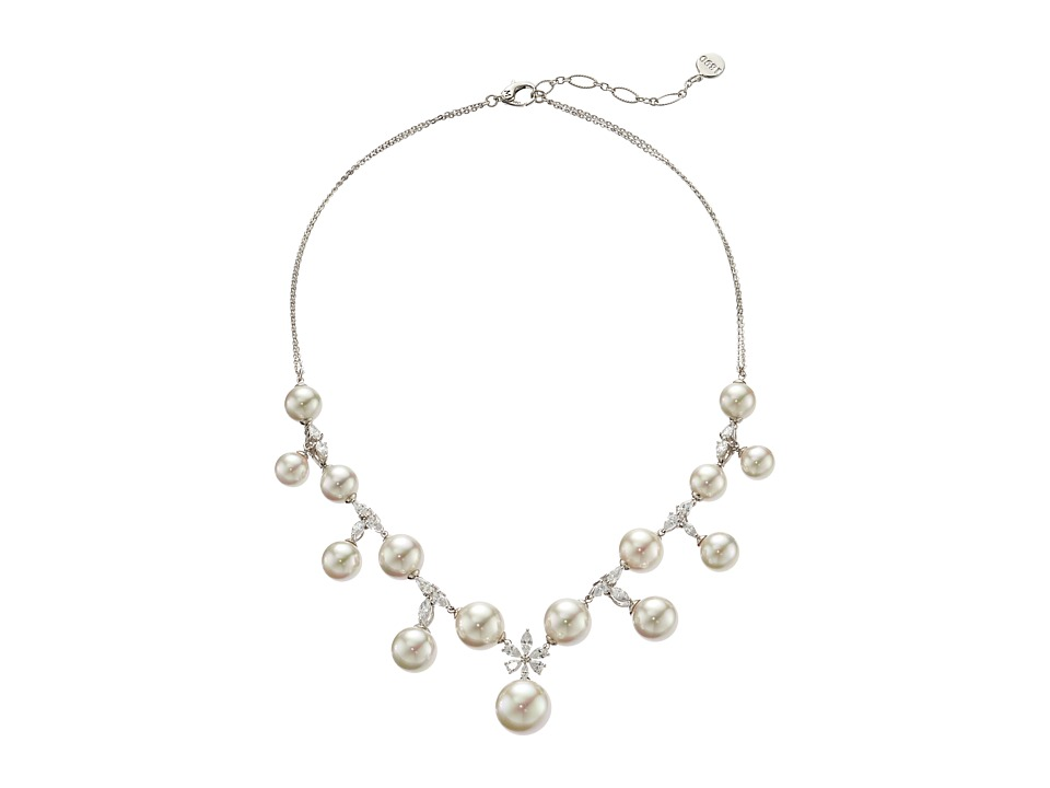 Majorica - Tying the Knot Statement Necklace (Silver/White) Necklace