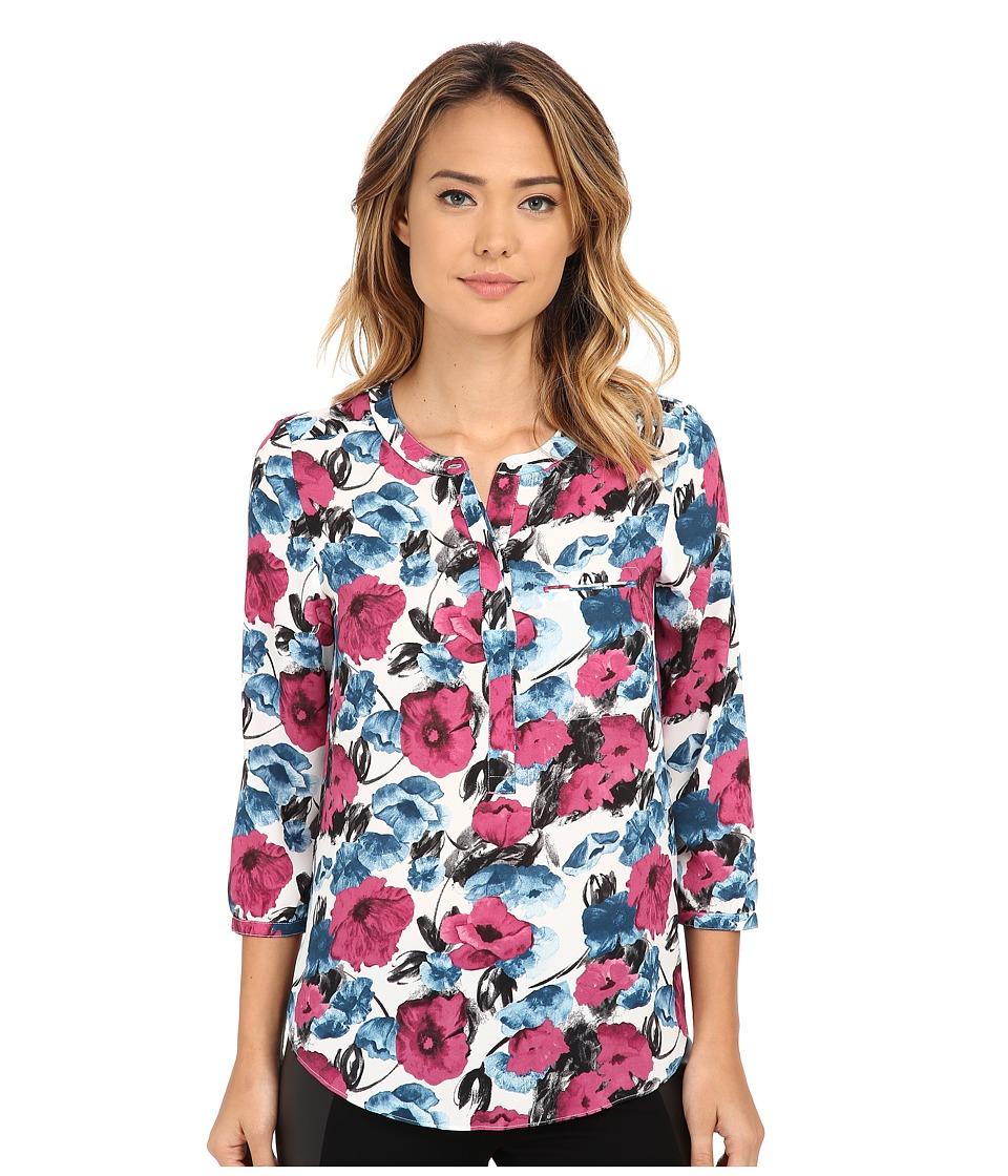 NYDJ - 3/4 Sleeve Pleat Back (Poppy Field Print) Women