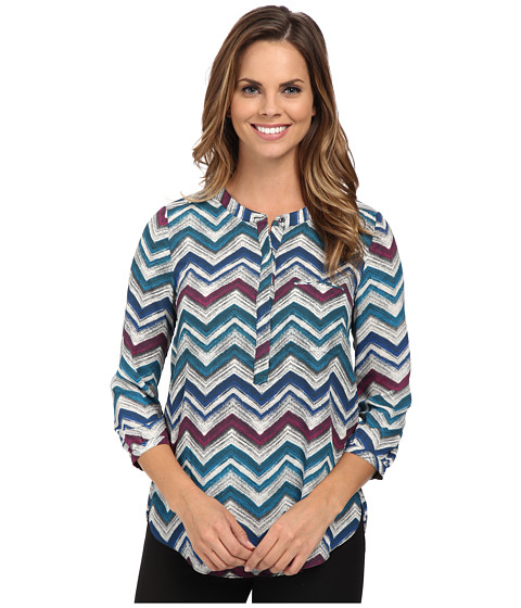 NYDJ - 3/4 Sleeve Pleat Back (Vanilla Chevron) Women's Blouse