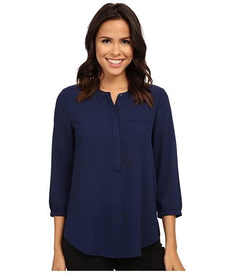 NYDJ - 3/4 Sleeve Pleat Back (Knight Blue) Women's Blouse