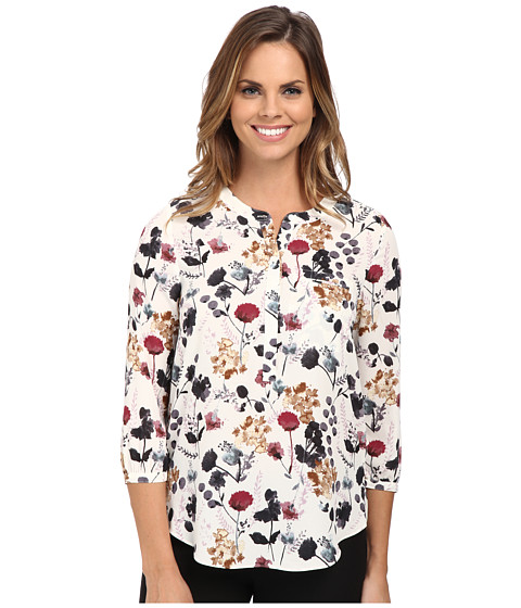 NYDJ - 3/4 Sleeve Pleat Back (Berry Pacifica) Women's Blouse