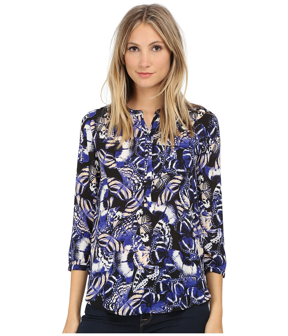 NYDJ - 3/4 Sleeve Pleat Back (Butterfly Print) Women's Blouse