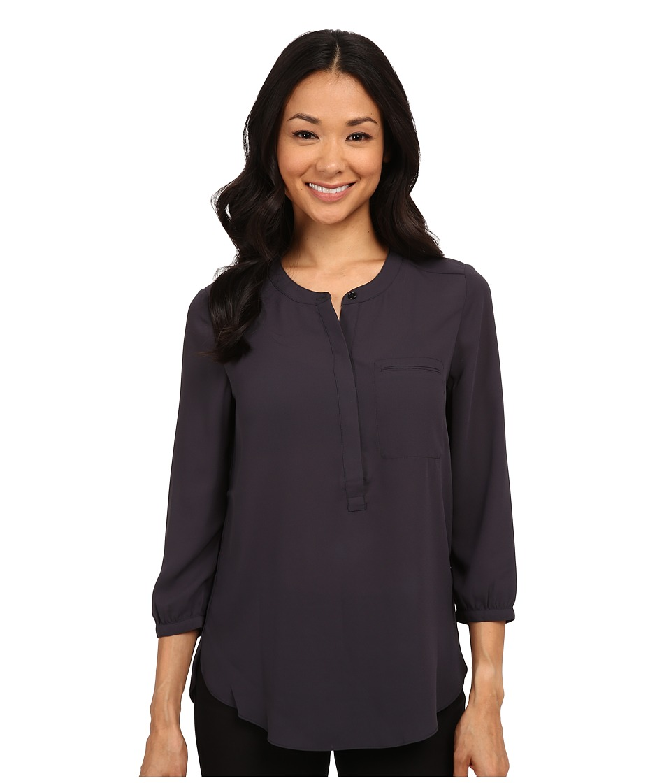 NYDJ - 3/4 Sleeve Pleat Back (Charcoal) Women's Blouse
