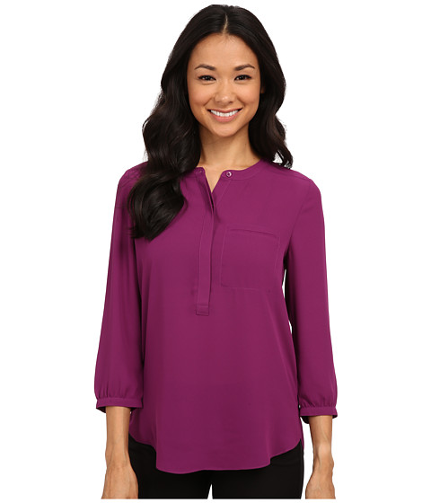 NYDJ - 3/4 Sleeve Pleat Back (Violet) Women's Blouse