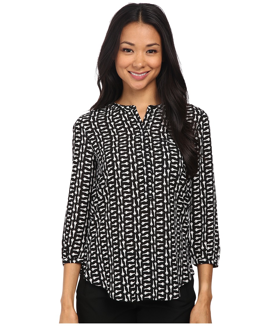 NYDJ - 3/4 Sleeve Pleat Back (Black Modern Keys) Women's Blouse