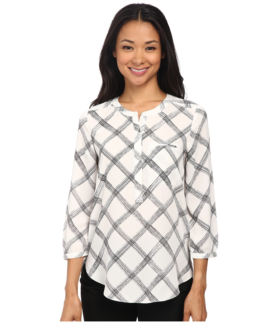 NYDJ - 3/4 Sleeve Pleat Back (White Sketch Windowpane) Women's Blouse