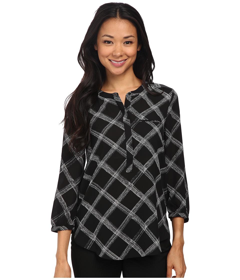 NYDJ - 3/4 Sleeve Pleat Back (Black Sketch Windowpane) Women's Blouse