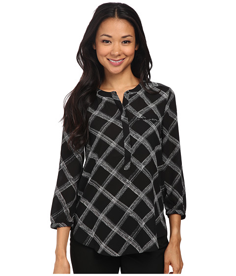 NYDJ - 3/4 Sleeve Pleat Back (Black Sketch Windowpane) Women