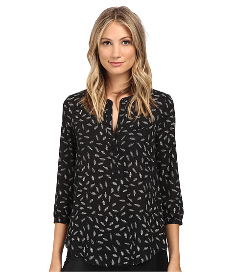 NYDJ - 3/4 Sleeve Pleat Back (Black Feather Leaves) Women