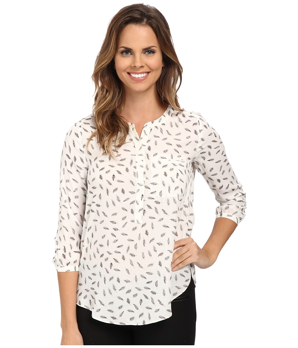 NYDJ - 3/4 Sleeve Pleat Back (White Feather Leaves) Women's Blouse