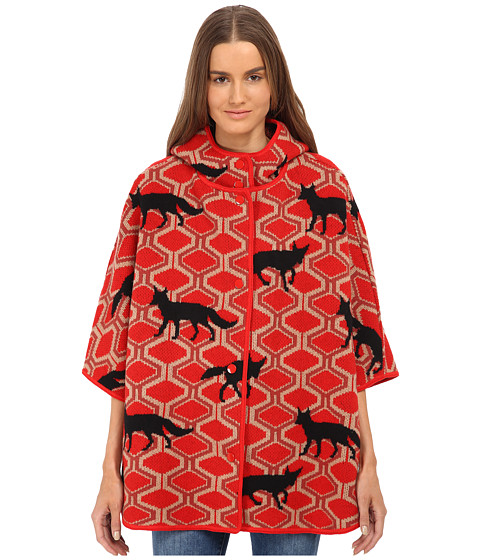 M Missoni - Wolf Jacquard Cape w/ Hood (Red) Women's Coat
