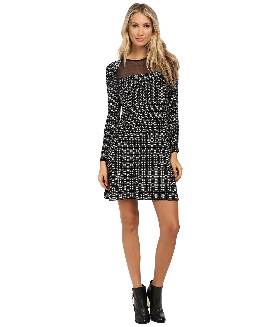 M Missoni - Window Pane Long Sleeve Dress (Black) Women's Dress