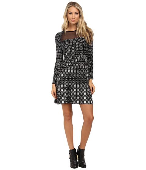 M Missoni - Window Pane Long Sleeve Dress (Black) Women