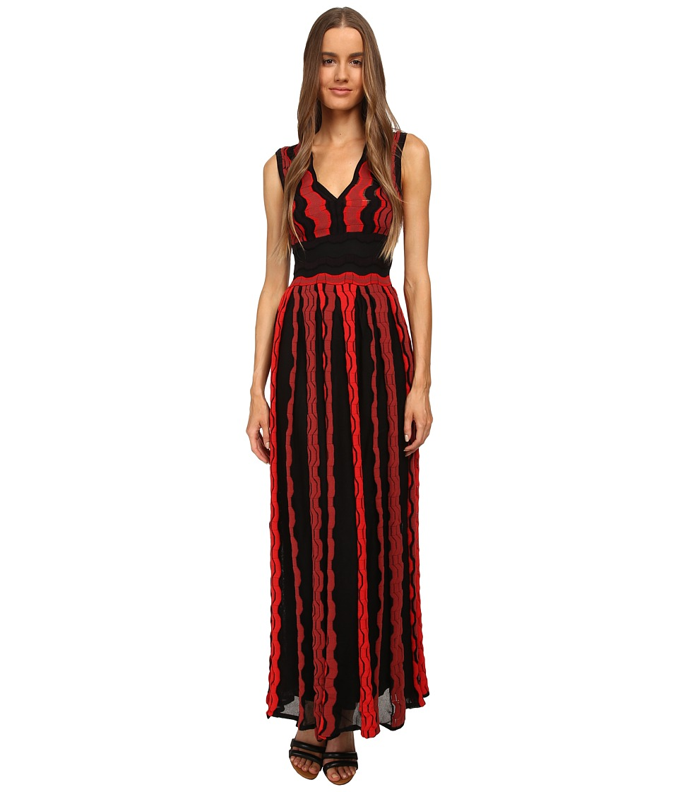 M Missoni - Sheer Greek Key Long Gown (Red) Women's Dress