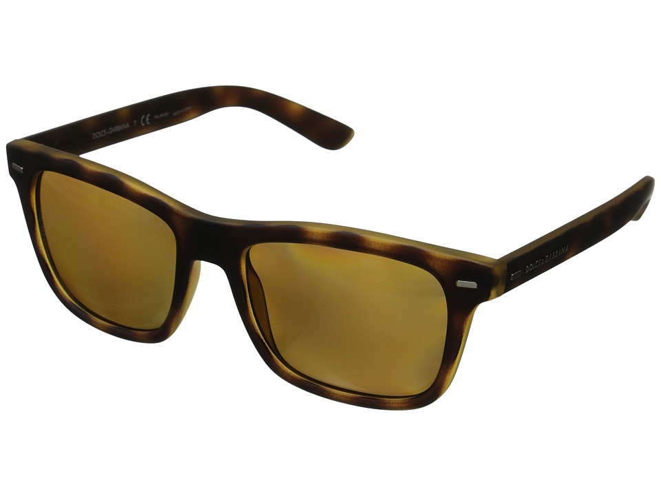 Dolce & Gabbana - DG6095 (Yellow/Havana Rubber/Brown Gradient Polarized) Fashion Sunglasses