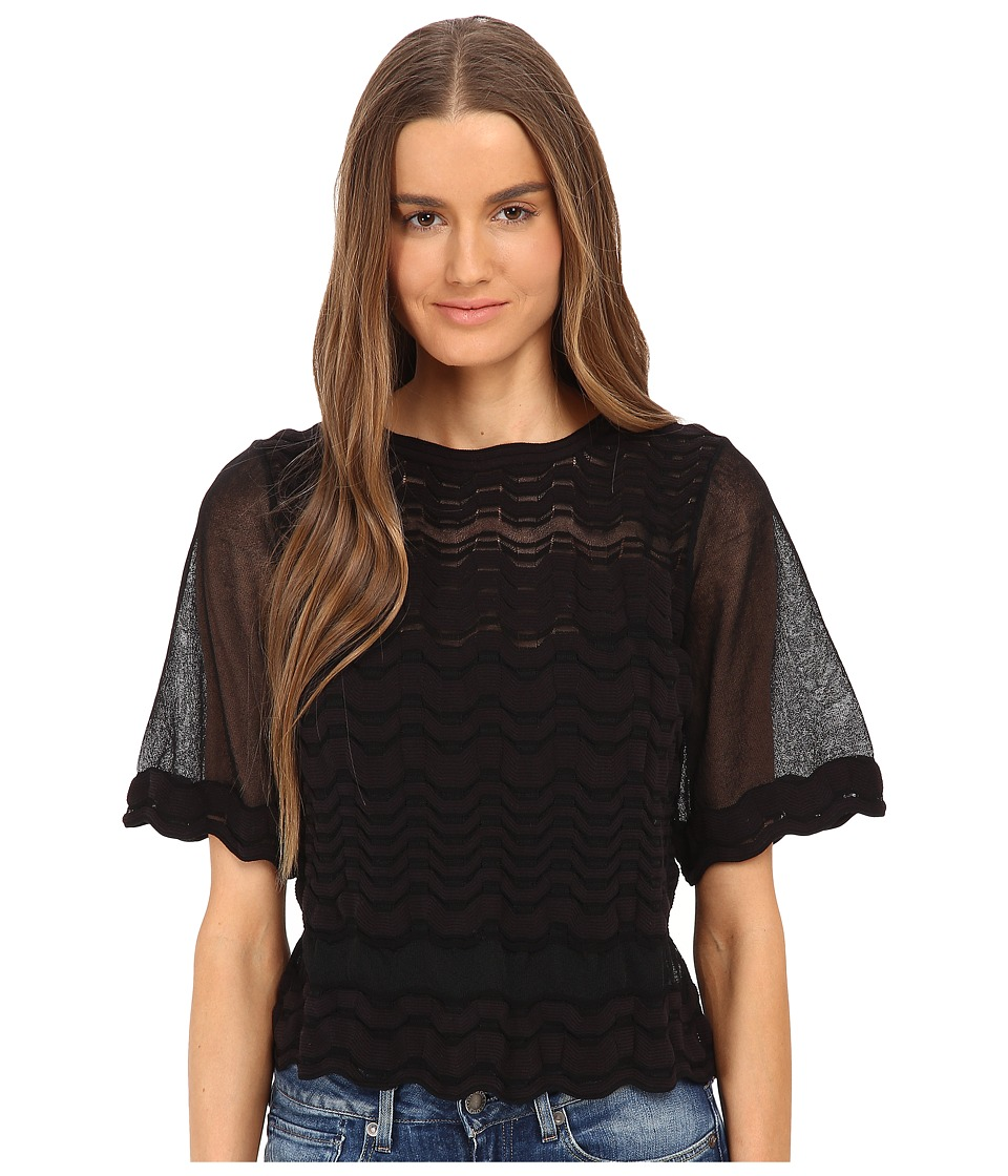 M Missoni - Sheer Greek Key Top (Black) Women's Clothing