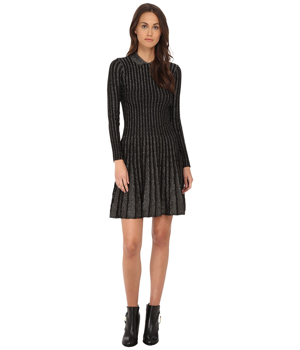 M Missoni - Monocromatic Vertical Stripe Lurex Dress (Black) Women's Dress