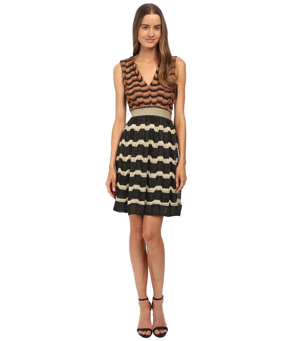 M Missoni - Bi-Color Lurex Greek Key Open Back Dress (Black) Women
