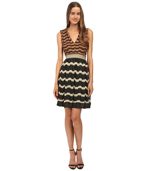 M Missoni - Bi-Color Lurex Greek Key Open Back Dress (Black) Women's Dress
