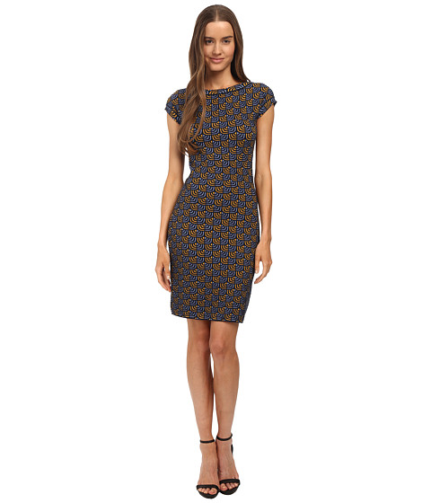 M Missoni - Geometric Jacquard Cap Sleeve Dress (Periwinkle) Women