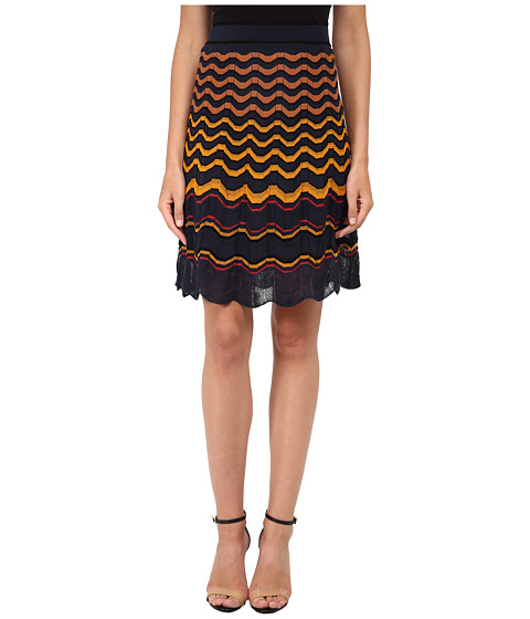 M Missoni - Greek Key Knit Skirt (Navy) Women