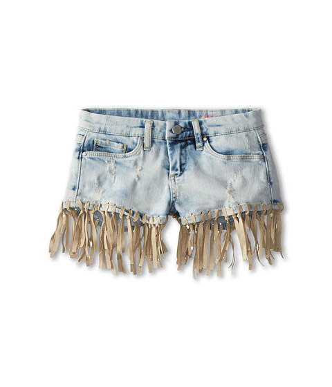 Blank NYC Kids - Light Denim Shorts w/ Beige Suede Fringes (Big Kids) (Ensembly Challenged) Girl