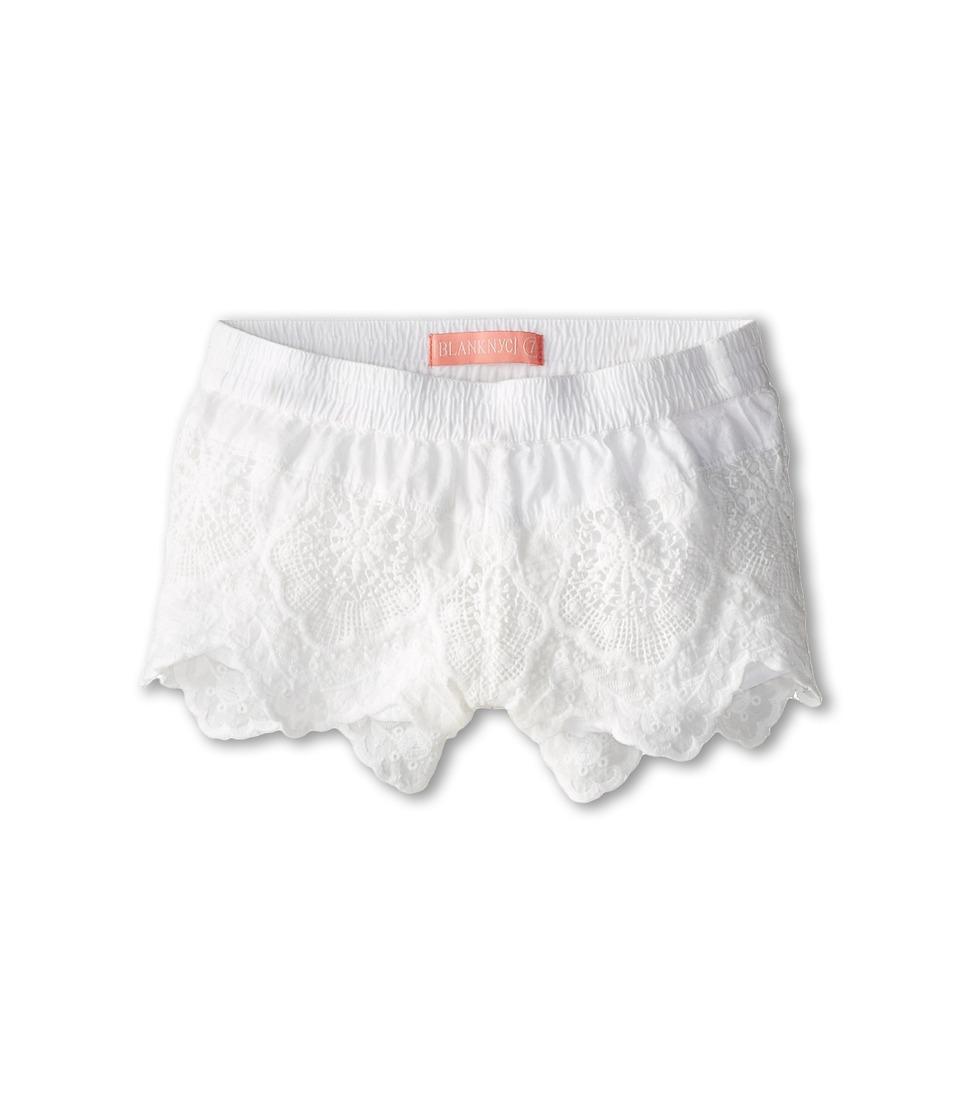Blank NYC Kids - Detailed Eyelet Shorts (Big Kids) (White) Girl