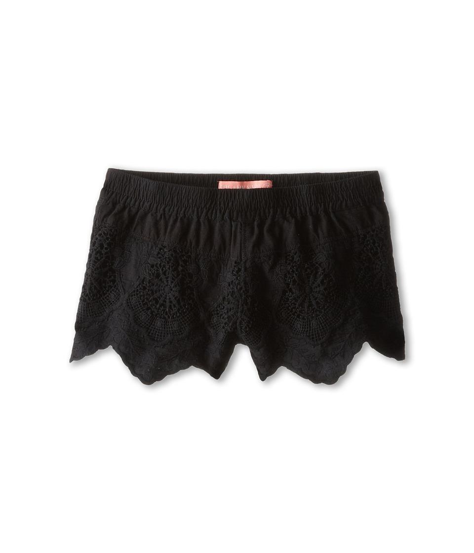 Blank NYC Kids - Detailed Eyelet Shorts (Big Kids) (Black) Girl