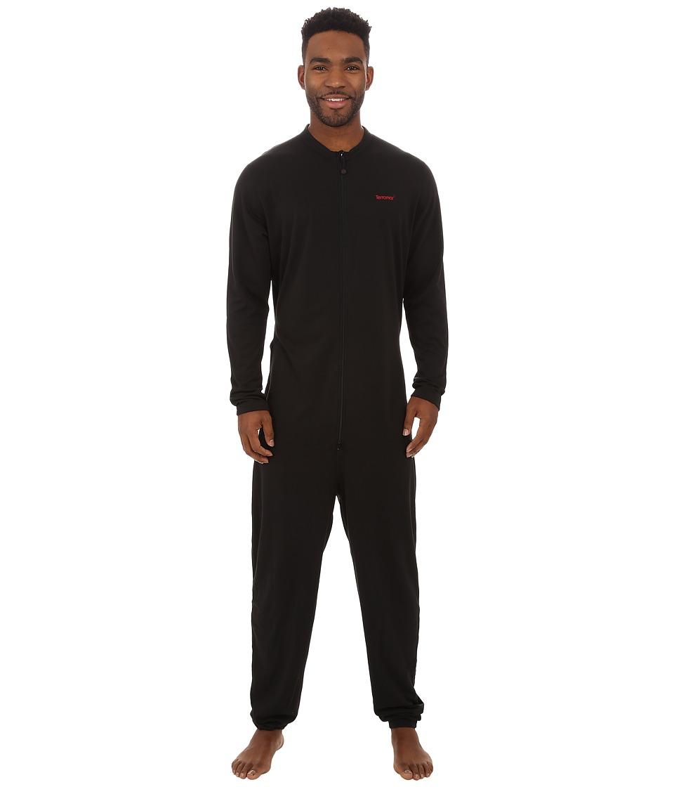Terramar - Military Fleece Union Suit (Black) Men's Jumpsuit & Rompers One Piece
