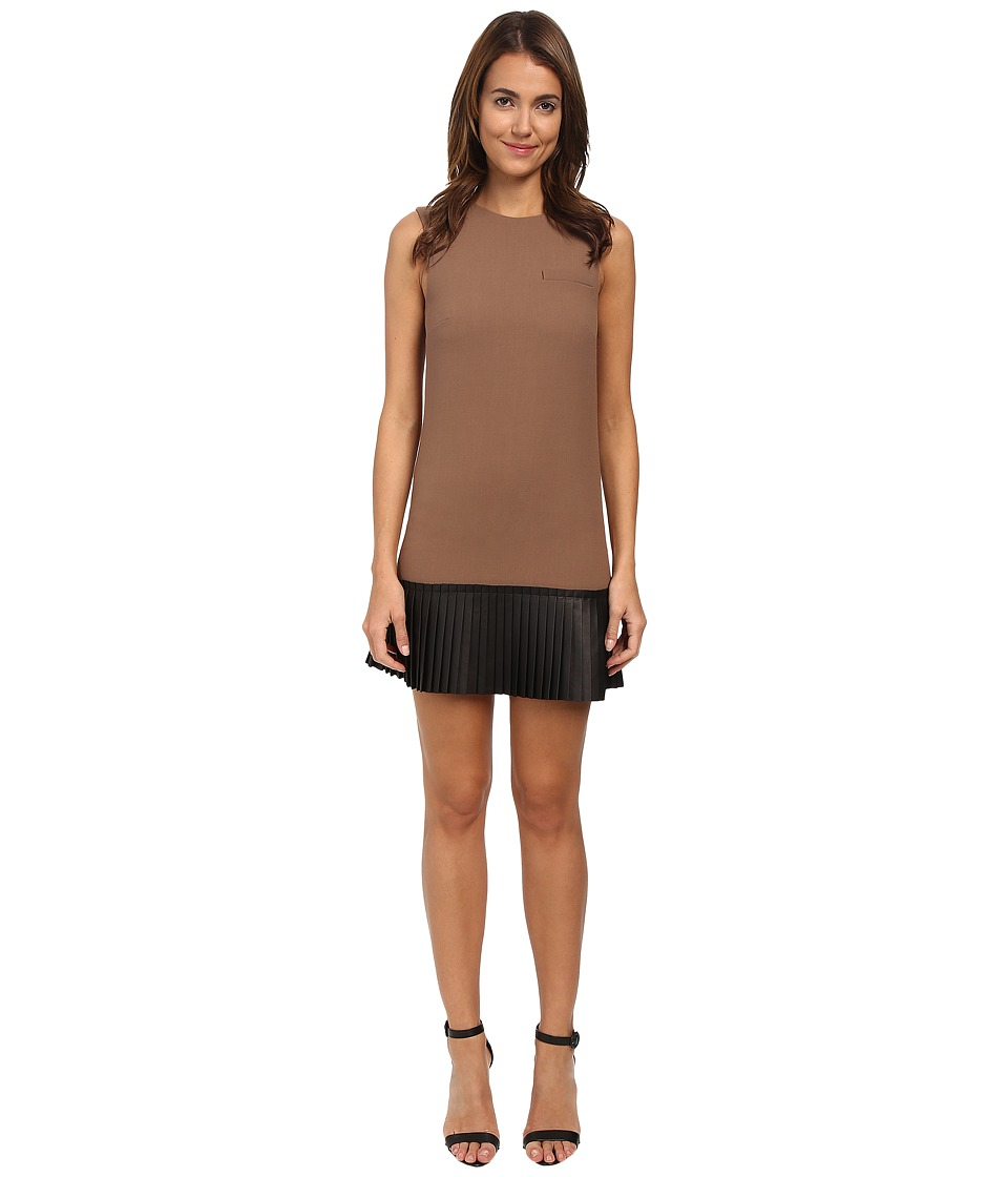 Vera Wang - Sleeveless Shift Dress w/ Black Nappa Leather Pleated (Vicuna) Women's Dress