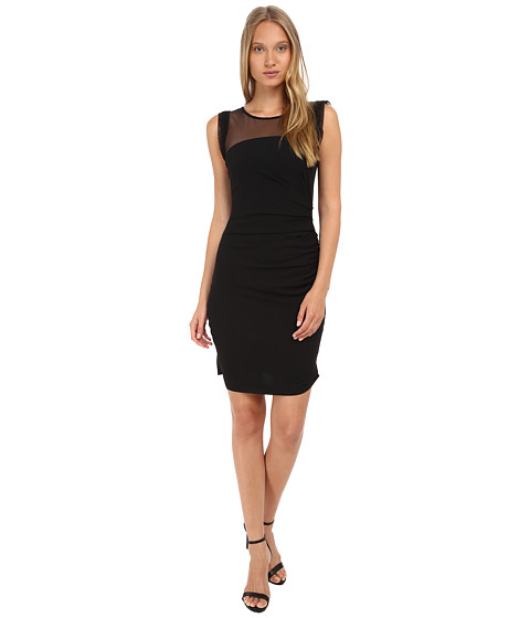 Vera Wang - Short Sleeve Tulle Top Dress w/ Ruched Side Detail (Black) Women's Dress