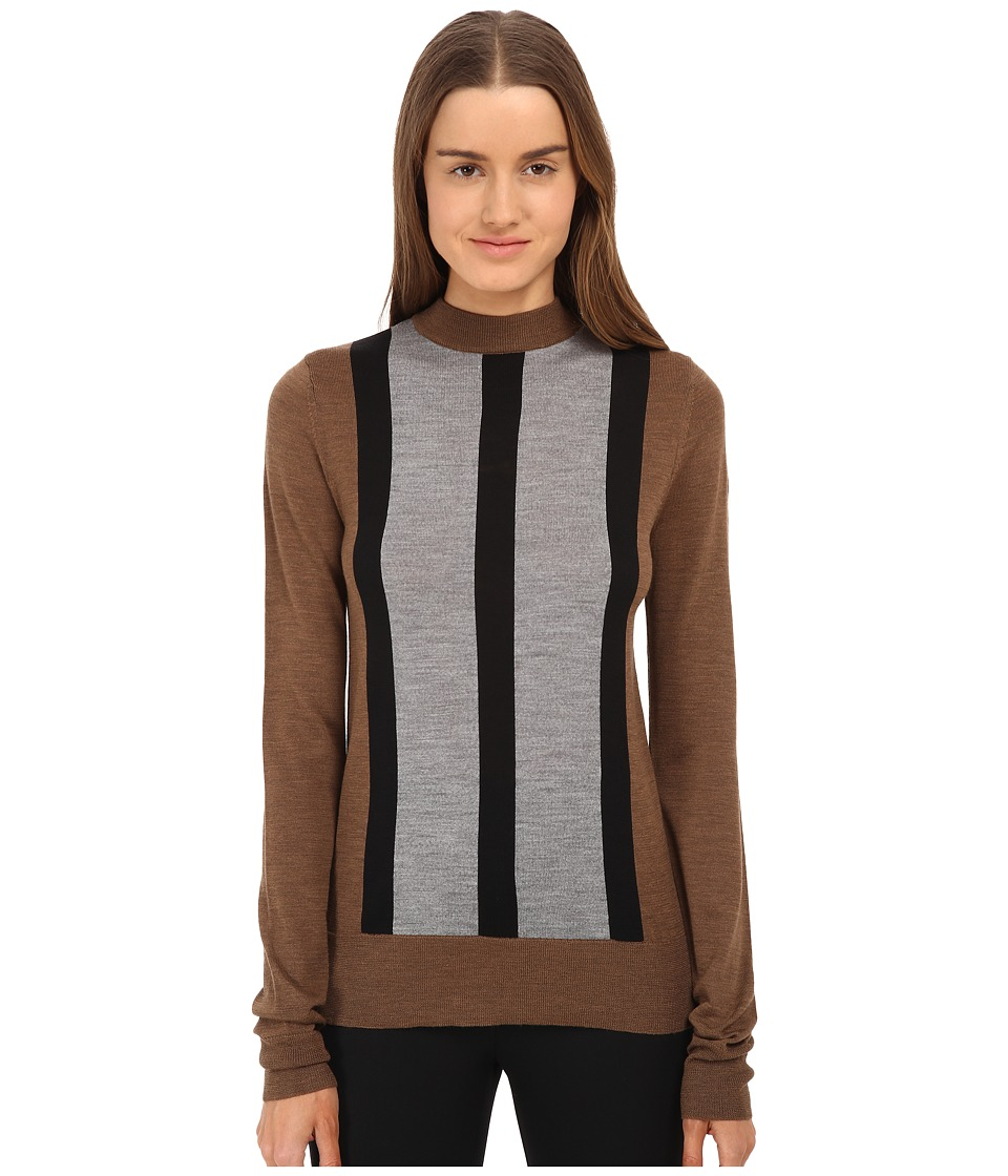 Vera Wang - Merino Wool Mock Turtle Neck (Vicuna/Black/Gray) Women