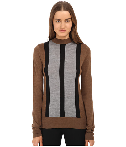 Vera Wang - Merino Wool Mock Turtle Neck (Vicuna/Black/Gray) Women's Sweater