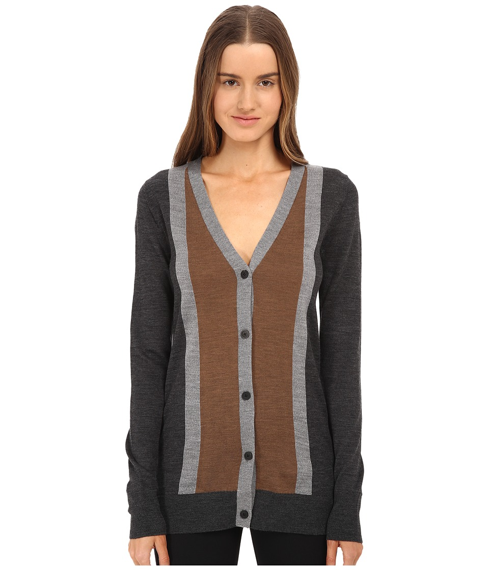 Vera Wang Merino Wool Cardigan w/ Stripes (Charcoal/Grey/Vicuna) Women