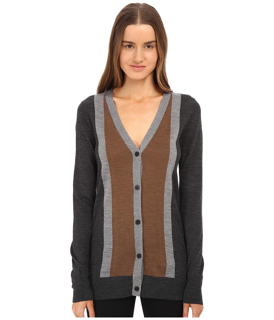 Vera Wang - Merino Wool Cardigan w/ Stripes (Charcoal/Grey/Vicuna) Women's Sweater