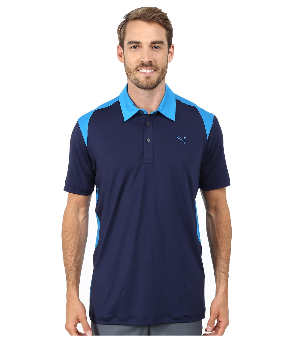 PUMA Golf - Blocked Polo (Peacoat/Cloisonne) Men's Short Sleeve Knit