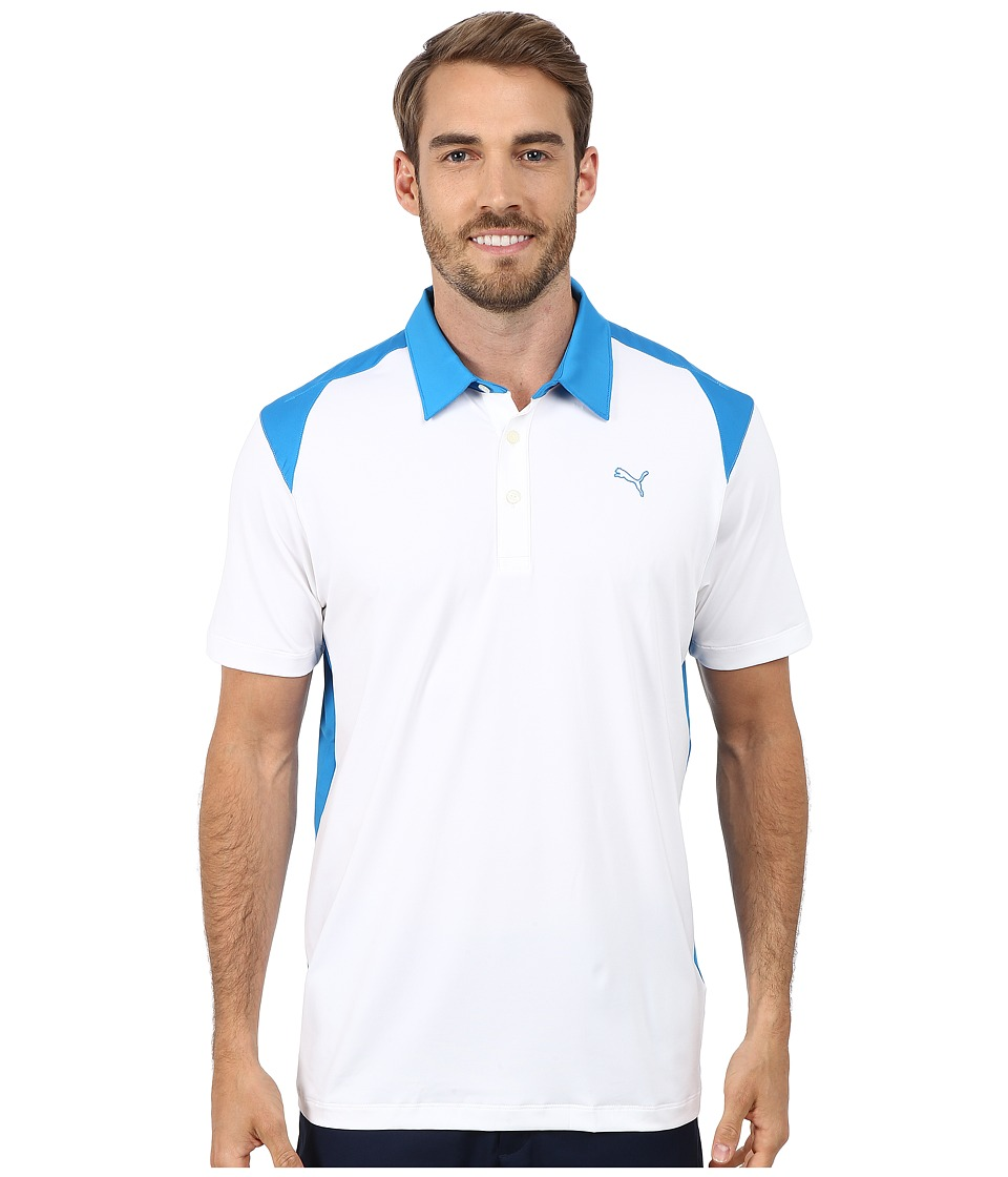 PUMA Golf - Blocked Polo (White) Men's Short Sleeve Knit