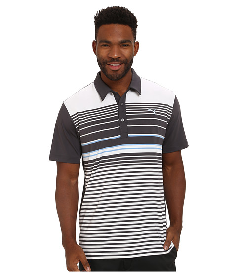 PUMA Golf - YD Stripe Polo (Periscope) Men's Short Sleeve Knit