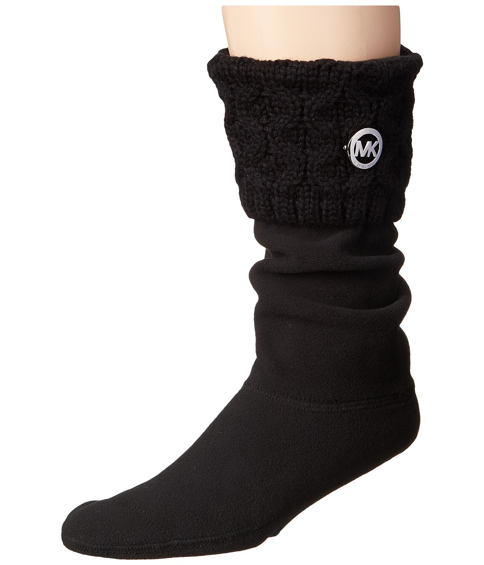 MICHAEL Michael Kors - MK Cable Sock (Black Cable Knit Yarn) Women's Low Cut Socks Shoes