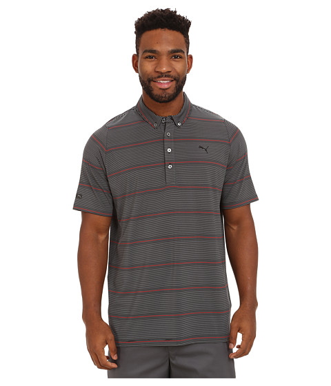 PUMA Golf - Lux YD Stripe Polo (PUMA Black) Men's Short Sleeve Knit