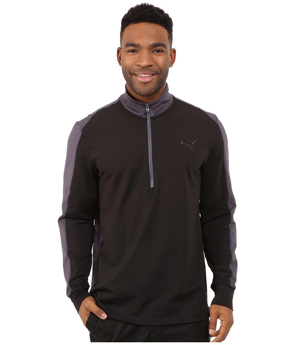 PUMA Golf - PWRWarm 1/4 Zip Popover (Black/Periscope) Men's Sweatshirt