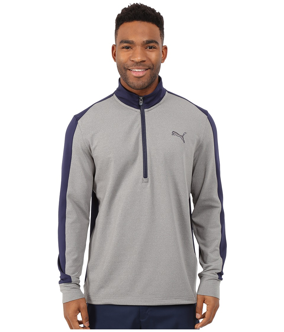 PUMA Golf - PWRWarm 1/4 Zip Popover (Medium Grey Heather/Peacoat) Men's Sweatshirt