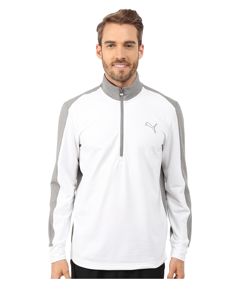 PUMA Golf - PWRWarm 1/4 Zip Popover (White/Medium Grey Heather) Men's Sweatshirt