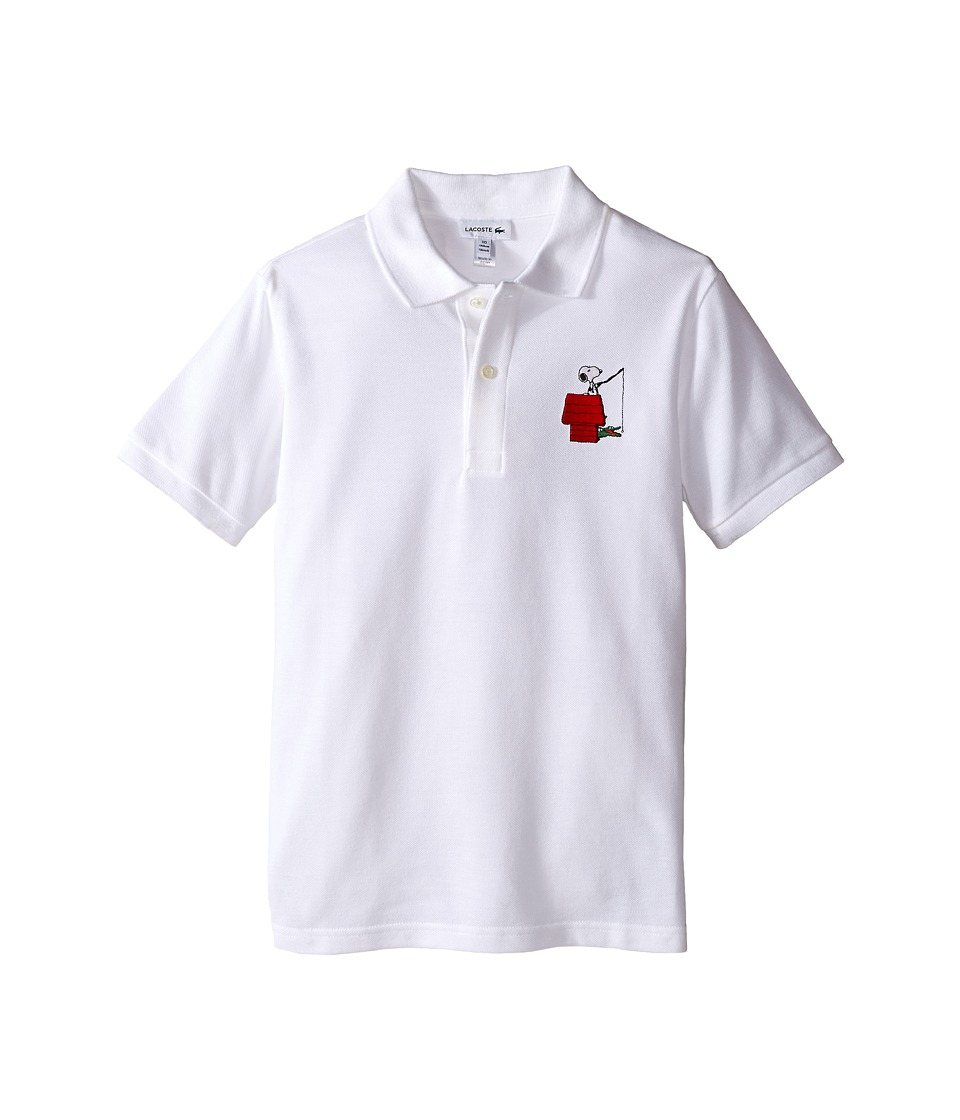 Lacoste Kids - Peanuts Snoopy Polo (Toddler/Little Kids/Big Kids) (White) Boy's Clothing