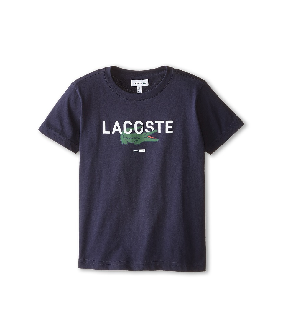 Lacoste Kids - Short Sleeve Croc Graphic Tee Shirt (Toddler/Little Kids/Big Kids) (Navy Blue) Boy's T Shirt