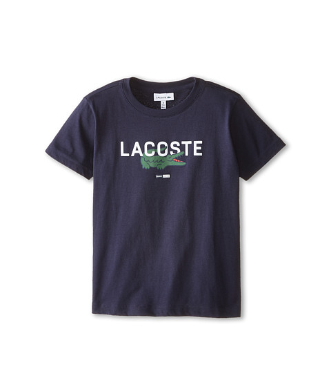 Lacoste Kids - Short Sleeve Croc Graphic Tee Shirt (Toddler/Little Kids/Big Kids) (Navy Blue) Boy