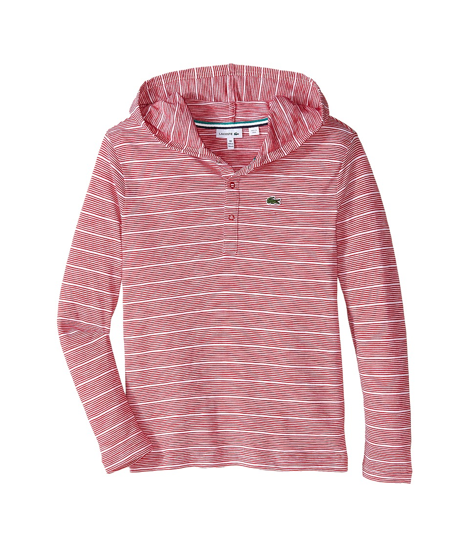 Lacoste Kids - Long Sleeve Striped Henley Hooded Tee Shirt (Toddler/Little Kids/Big Kids) (Tokyo Red/White) Boy